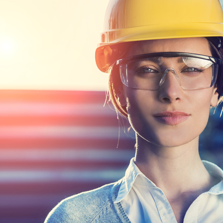 Female Engineer In Hard Hat